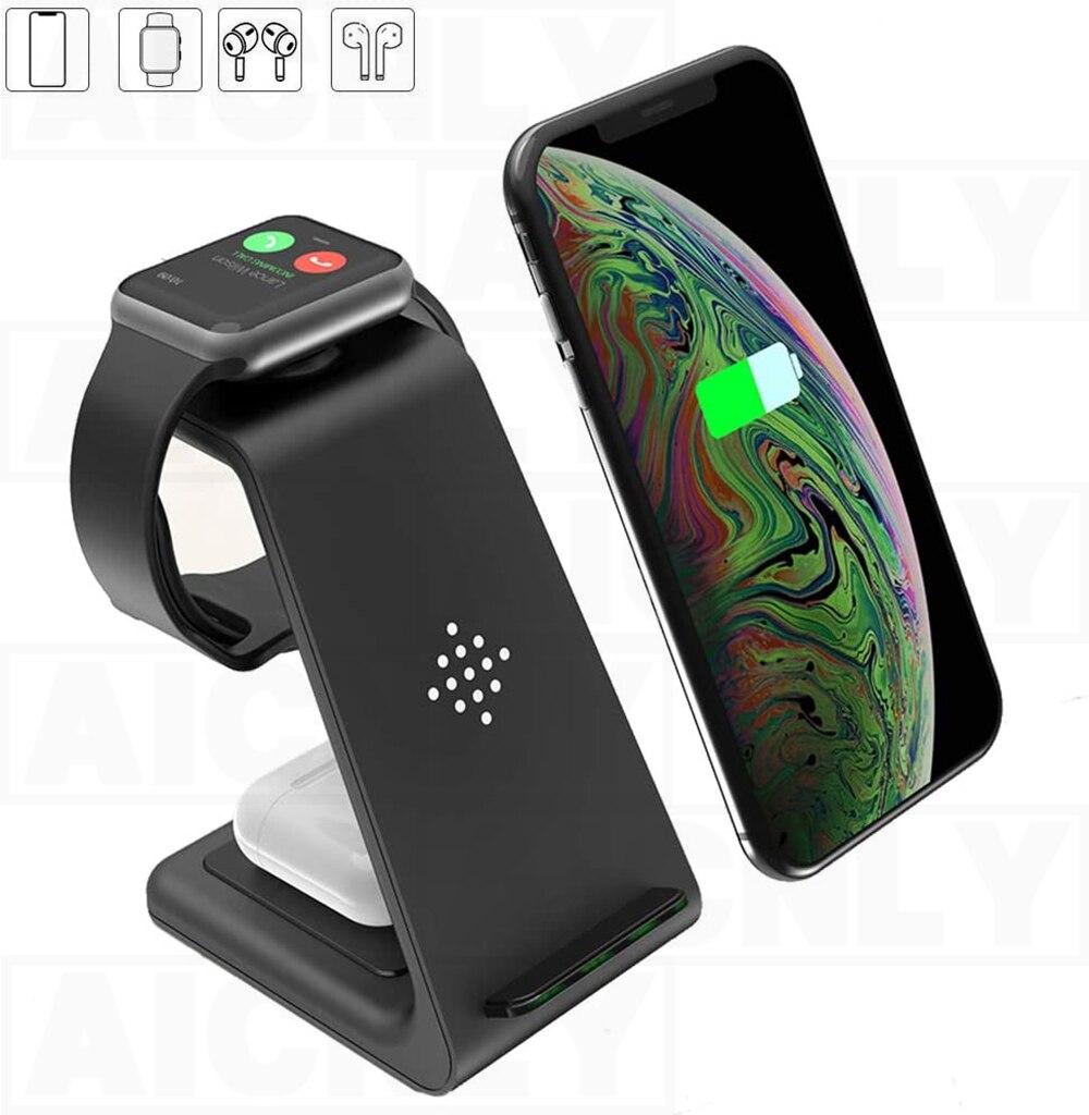 Cargador inalámbrico 3 en 1, carga rápida 10W para Iphone 11 Pro SE2, base de carga para Apple Watch Airpods Pro, soporte de carga inalámbrico
