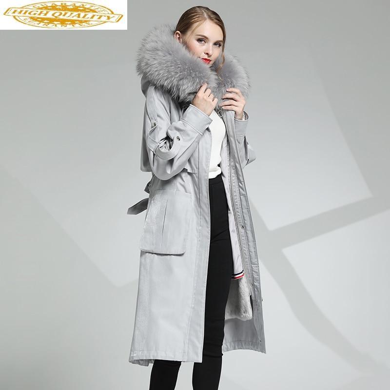 2020 Real Fur Coat Female Real Rabbit Fur Liner Parka Winter Jacket Women Raccoon Fur Collar Long Trench Coats MY3918