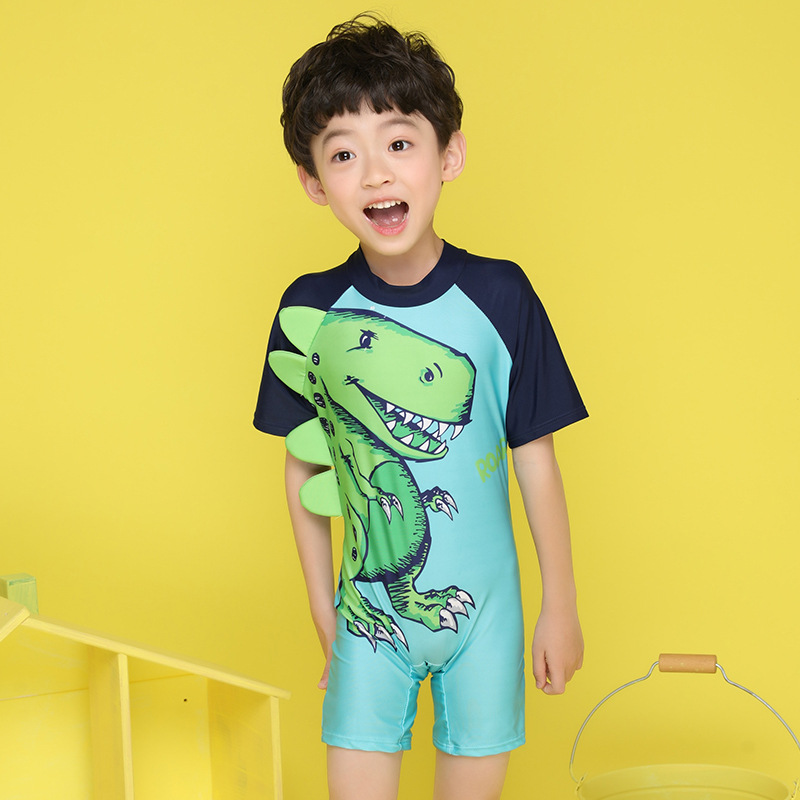 2019 New Style Korean-style Children Dinosaur One-piece Swimwear Bathing Suit BOY'S Quick-Dry Cartoon Sun Blocking Diving Suit S