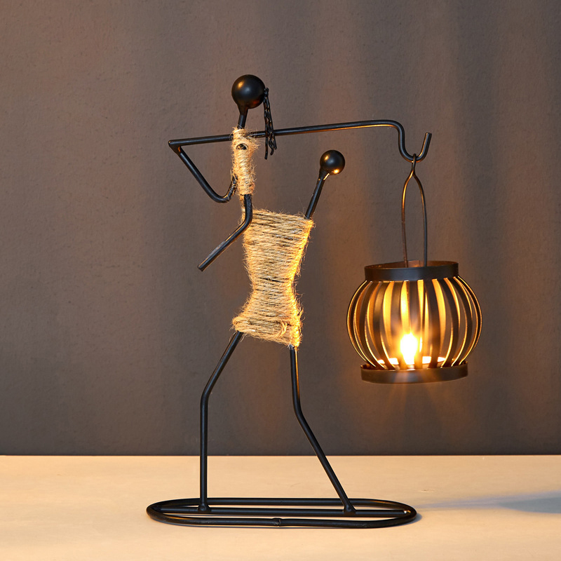 Nordic Metal Candlestick Abstract Art Character Sculpture Candle Holder  4