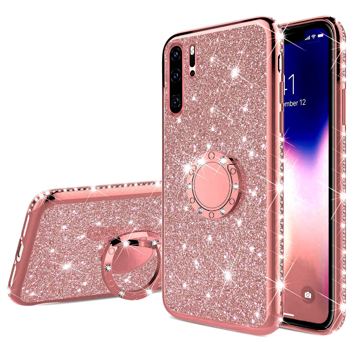 Finger Ring Diamond Soft <font><b>Case</b></font> for <font><b>HUAWEI</b></font> P20 P30 Lite <font><b>Pro</b></font> P Smart 2019 Z P10 Nova 3 3i HONOR 7X 8X Mate <font><b>20</b></font> 10 Glitter Cover image