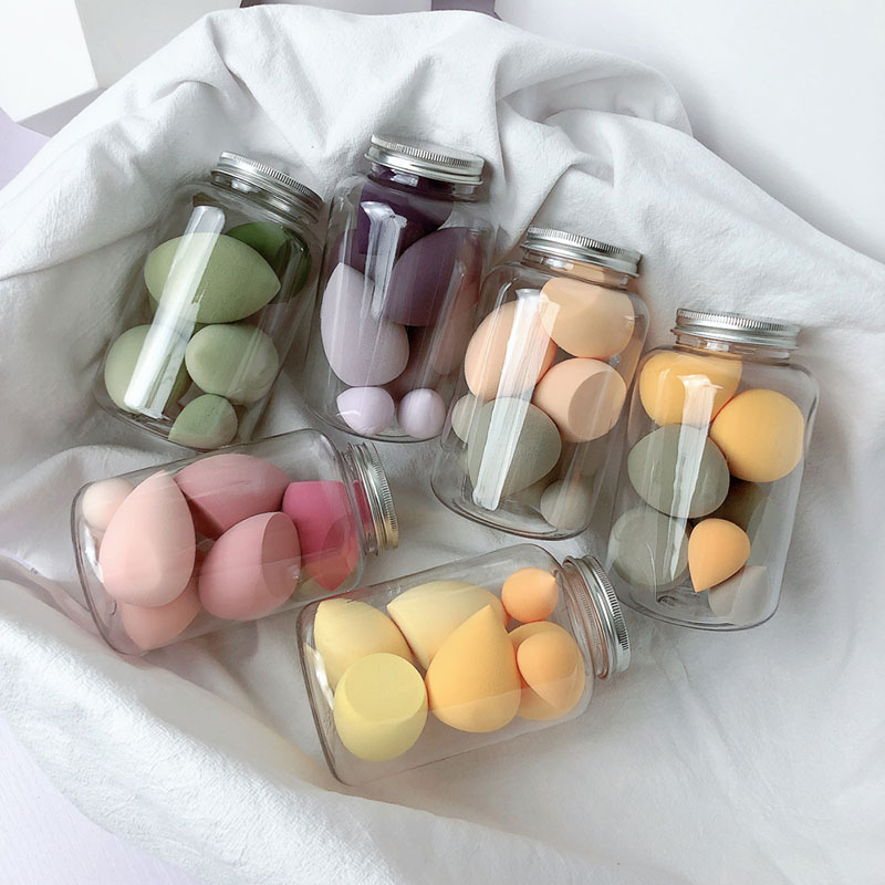 7 PCS/Jar Makeup Foundation Sponges Beauty Egg Wet Dry Dual Use Makeup Concealer Puff Makeup Egg Cosmetic Tool Set With Bottle