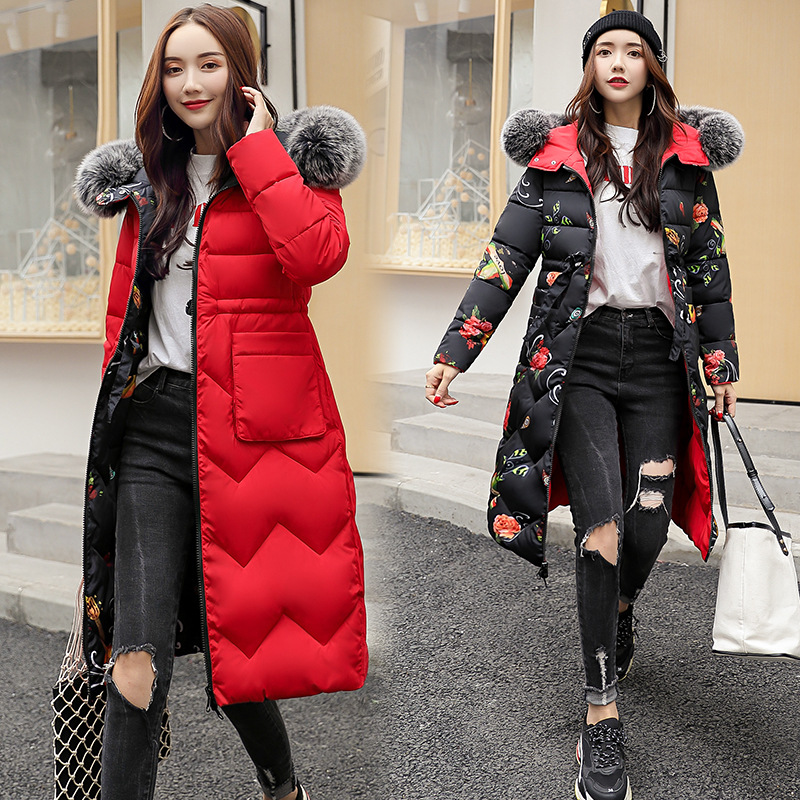 Both Two Sides Can Be Wore 2019 Women Winter Jacket Arrival With Fur Hooded Long Coat Cotton Padded Warm   Parka   Womens   Parkas  -85