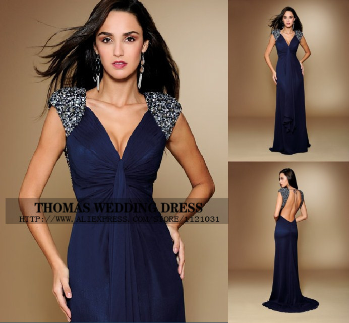Sexy Backless V Neck Royal Blue Chiffon Cap Sleeve A-line With Crystal Beading Formal Evening Mother Of The Bride Dresses WV-506