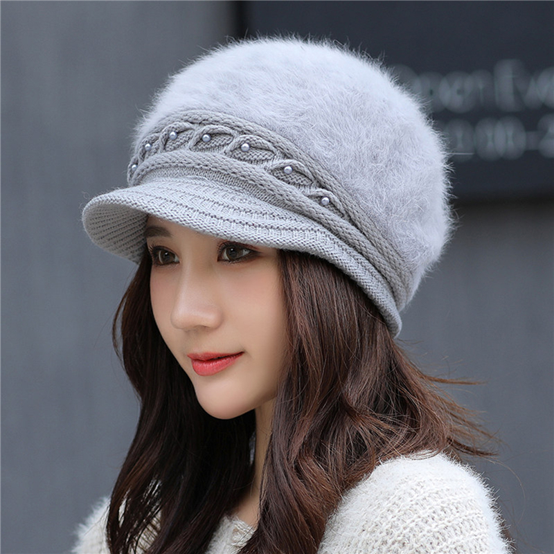 Winter New Peaked Hat Ladies Thermal Pearl Knitted Cap Windproof Solid Color Earmuffs Hat Autumn Female Beret Cap