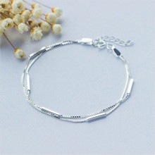 925 silver bracelet Contracted and double Sen is pure fresh students present Womens fashion jewelry