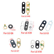 20Pcs/lot Camera Glass For LG V20 V30 V40 G5 G7 Q6 Rear Back Camera glass Lens With Glue Adhesive(China)