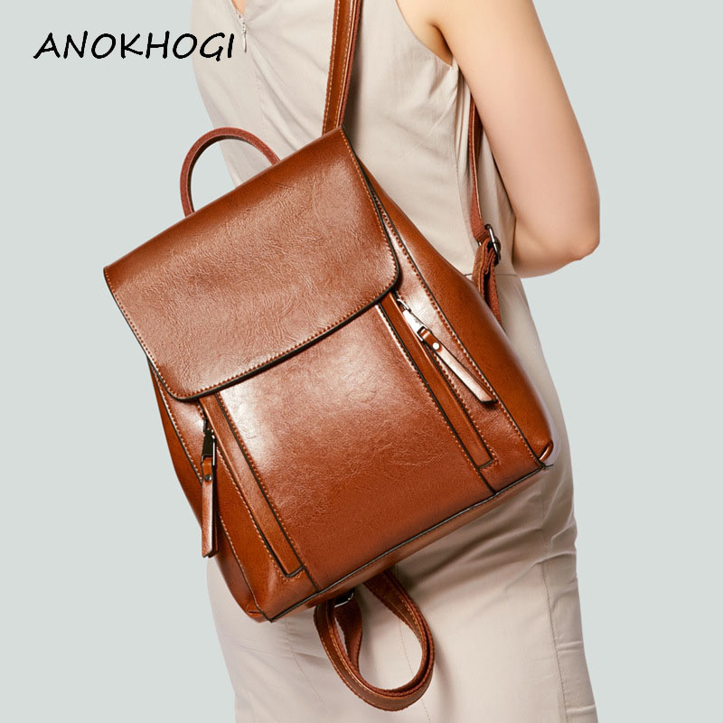 Vintage Women Genuine Leather Backpack Large-capacity Shoulder Bag Wild Travel School Bags Women's Brown Backpack B508