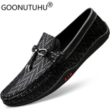 2019 new fashion mens shoes casual genuine leather man loafers classic golden black slip on shoe flat driving for men