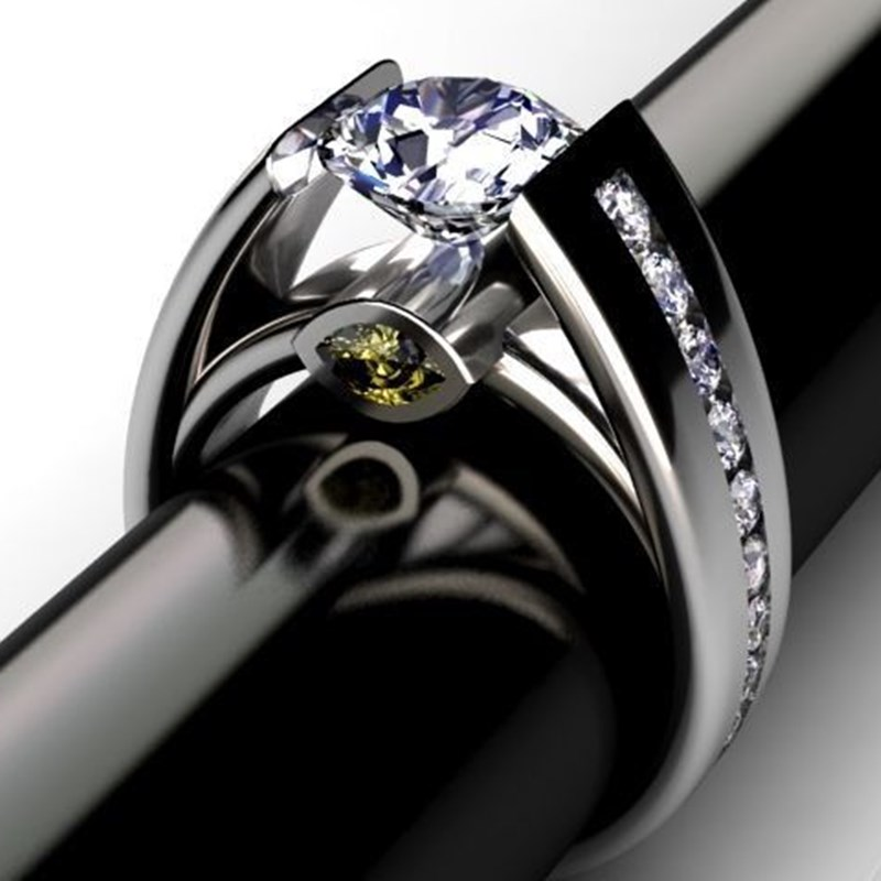 Round Inlaid Olive Green Zircon Ring For Women Fashion Jewelry Bridal Promise Wedding Ring