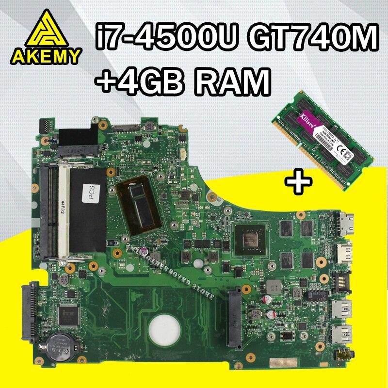 For ASUS A750J K750J K750JB X750JB X750JN laptop Motherboard Mainboard test 100% OK  i7-4500 GT740M/2GB  free Heatsink+4GB RAM