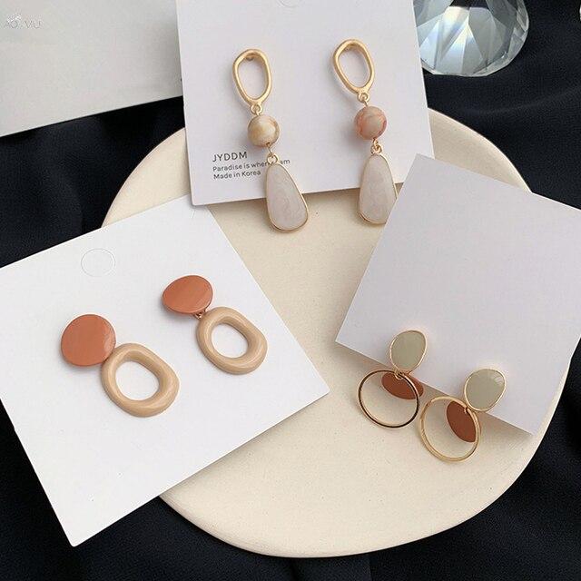 AOMU 1Pair 2020 Korea Fashion Geometric Round Acrylic Long Dangle Drop Earrings for Women Party Jewelry.jpg 640x640 - AOMU 1Pair 2020 Korea Fashion Geometric Round Acrylic Long Dangle Drop Earrings for Women Party Jewelry Gifts