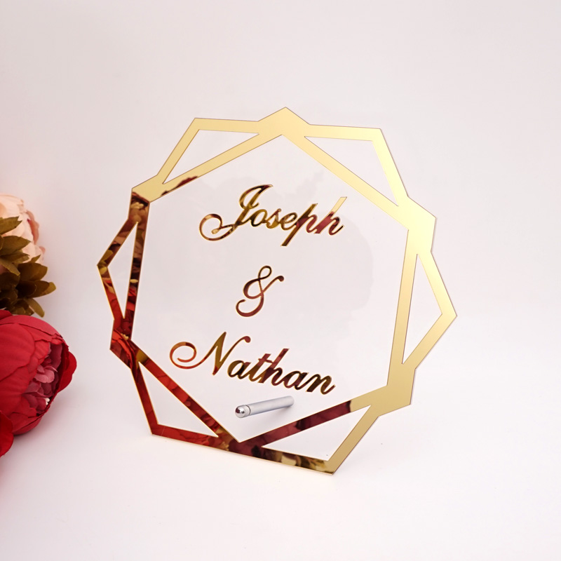 Custom Acrylic Mirror Frame Wedding Couple Name Babyshower Word Sign Hexagon Shape Party Decor With Nail Standing Frame
