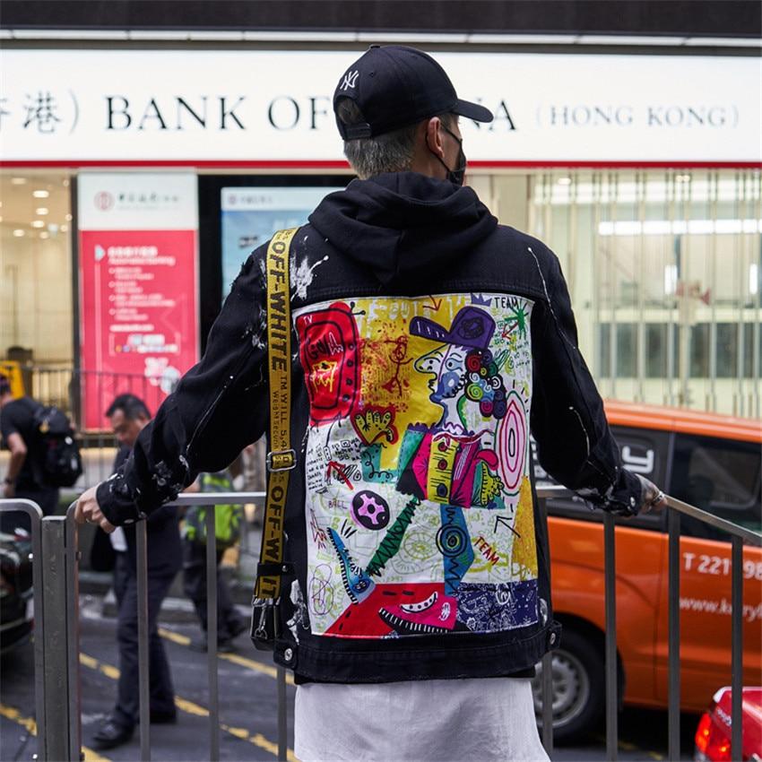 Moda 2019 Novos Homens Hip Hop Graffiti Dos Desenhos Animados Jaquetas Jeans Rasgado Mens Casual Afligido Jeans Jaqueta Casaco Streetwear - 3