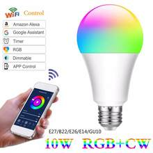 Lampara WiFi inteligente bombillas LED luz LED lámpara E27 B22 E26 E14 GU10 10W regulable magia RGB + voz Control con Alexa Google IFTTT(China)