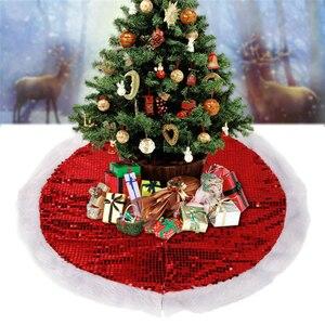 95cm Sequins Glittering Christmas Tree Plush Skirt Dress Base Floor Mat Xmas Decor Christmas Tree Skirt Carpet Home Decorations