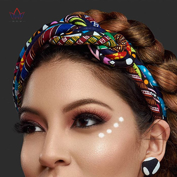 New Vintage Women Headbands And Earrings 2 Pieces Hair Accessories Beads African Printed Colorful Hairbands SP024