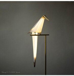 Image 3 - Vogel Papier Boden lampe Nordic gold boden licht Schlafzimmer wohnzimmer origami licht Studie Lesen tisch lampe Deco Leuchte