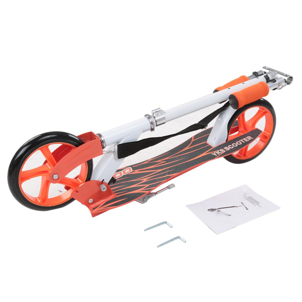 Adult Youngsters Aluminum Alloy Folding Height Adjustable Foot Scooter Two Rounds Outdoor Double Damping Push Kick Scooter