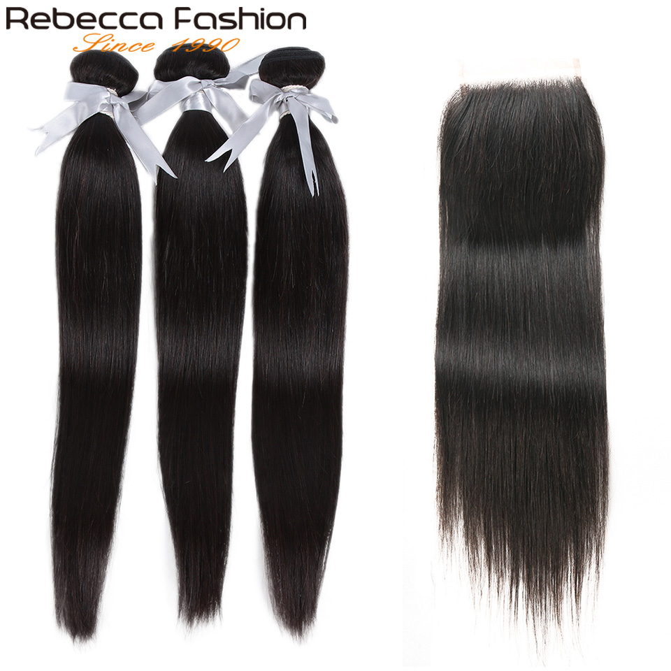 Rebecca Straight Hair Bundles With Closure 3 Bundles With Lace Closure Human Hair Extensions 8 To 28 Inch Bundles With Closure