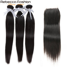 Rebecca Straight Hair Bundles With Closure 3 Bundles With Lace Closure Human Hair Extensions 8 To 28 Inch Bundles With Closure(China)