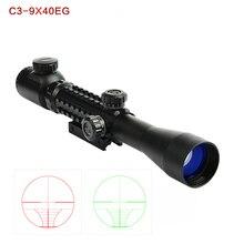 цена на Three-sided rail 3-9x40EG Hunting Optic Riflescope Red Green Illuminated Tactical Air Rifle Optics Hunting Sniper Scopes Sight