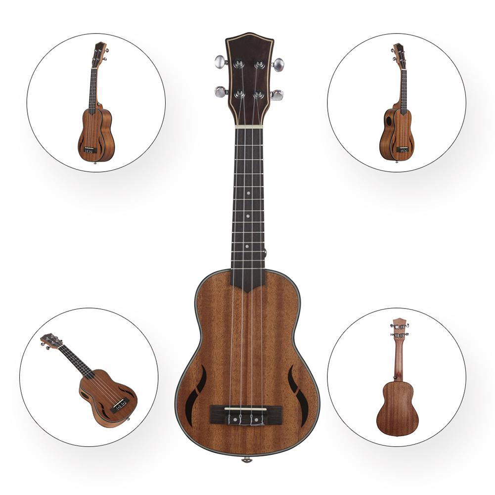 21 pouces 4 cordes en acajou ukulélé hawaïen petit Instrument de jeu de guitare - 5