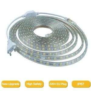 Гибкий светодиодный ленточный светильник 2835, 220 В перем. Тока, 120 светодиодов/м, водонепроницаемая светодиодная лента IP67, светодиодный свети...