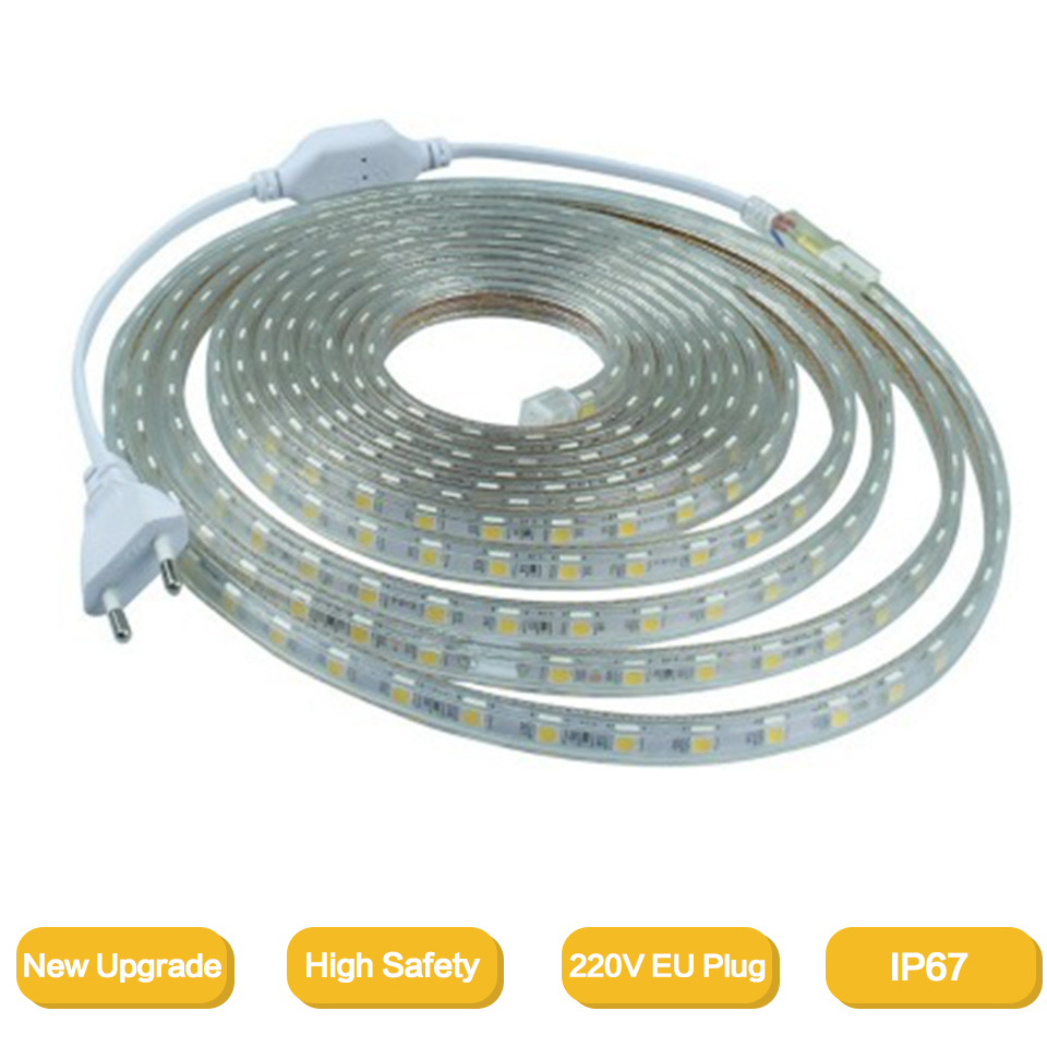 2835Flexible LED Strip Light AC220V 120leds/m Waterproof IP67 Led Tape LED Light With EU Power Plug 1M/2M/3M/8M/9M/10M/20M/50M