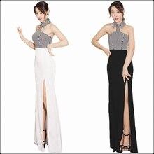 цена на Elegant Halter Blackless Evening Patry Long Dress Strapless Striped Patchwork Split Hem Prom Fit And Flare Maxi Dresses