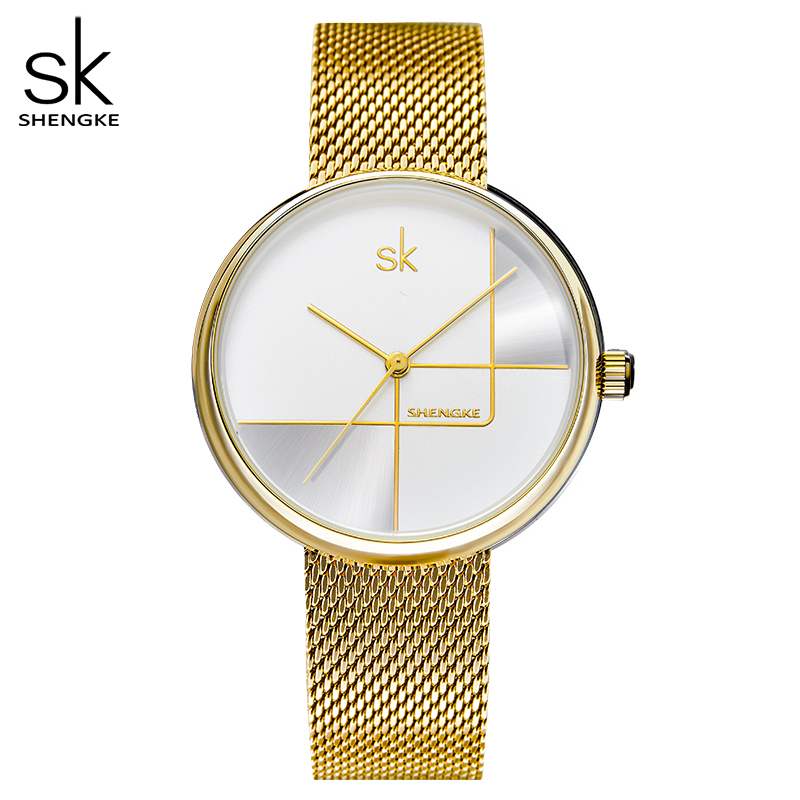 Shengke Gold Watch Women Watches Ladies Milan Mesh Steel Women's Bracelet Watches Female Clock Relogio Feminino Montre Femme