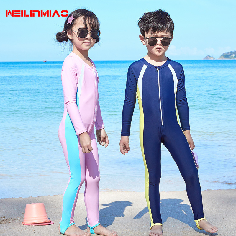 KID'S Swimwear Women's Sun-resistant Girls One-piece Long Sleeve Swimwear BOY'S Swimming Trunks Diving Suit Big Boy Tour Bathing