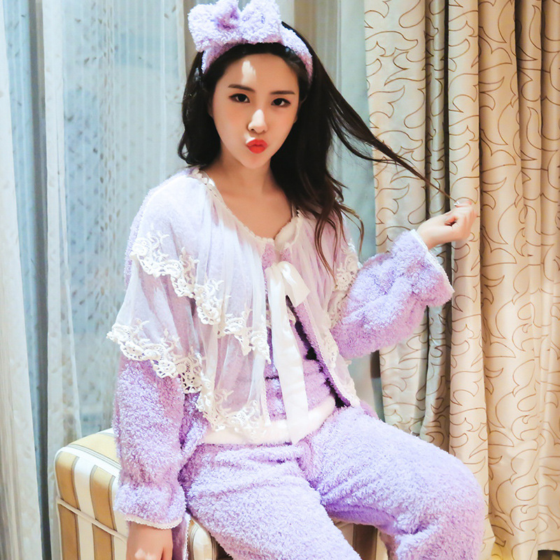 Winter New Products Mei Li Rong Women's Lace Pajamas Suit Palace Fairy Long Four-piece Set Home Wear