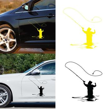 Fishing men Car Stickers Figure 11.9x13.2cm Fly Fishing Waterproof Removable Auto Car Styling Sticker Decal image