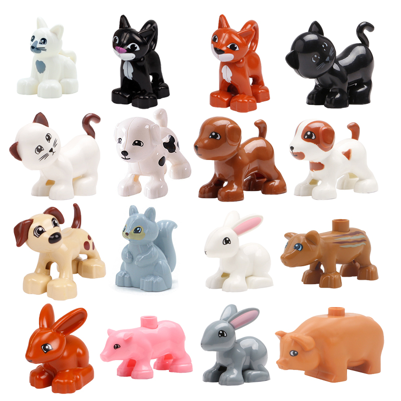 Big Size Building Blocks Cat Dog Pig Rabbit Model Accessories Compatible Duplo Farm Animals Assemble Education Toys For Kid Gift 1