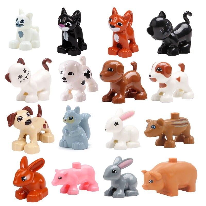 Tamanho grande blocos de construção gato cão porco coelho modelo acessórios compatíveis duplo fazenda animais montar educação brinquedos para o presente do miúdo
