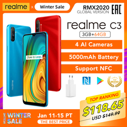 realme C3 Global Version 3GB 64GB Mobile Phone Helio G70 12MP AI Camera 6.5