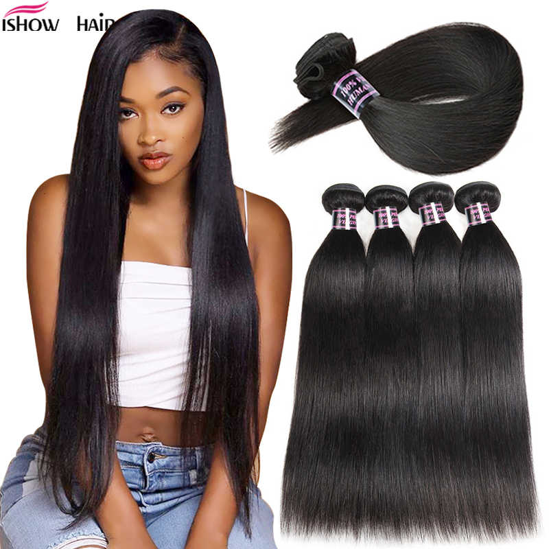 Ishow Brazilian Hair Weave Bundles Straight Hair Bundles Natural Color 100% Human Hair Bundles Non-Remy Brazilian Straight Hair