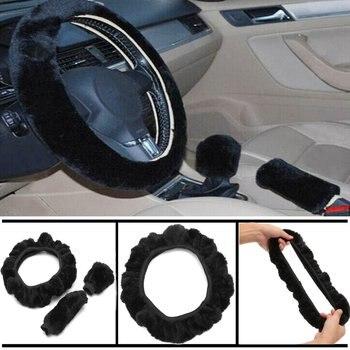 Funda de volante de coche Universal 3X, guante para freno de coche, kit de funda de palanca de cambios, cubierta de cambio, Protector antideslizante elástico suave para invierno, cálido