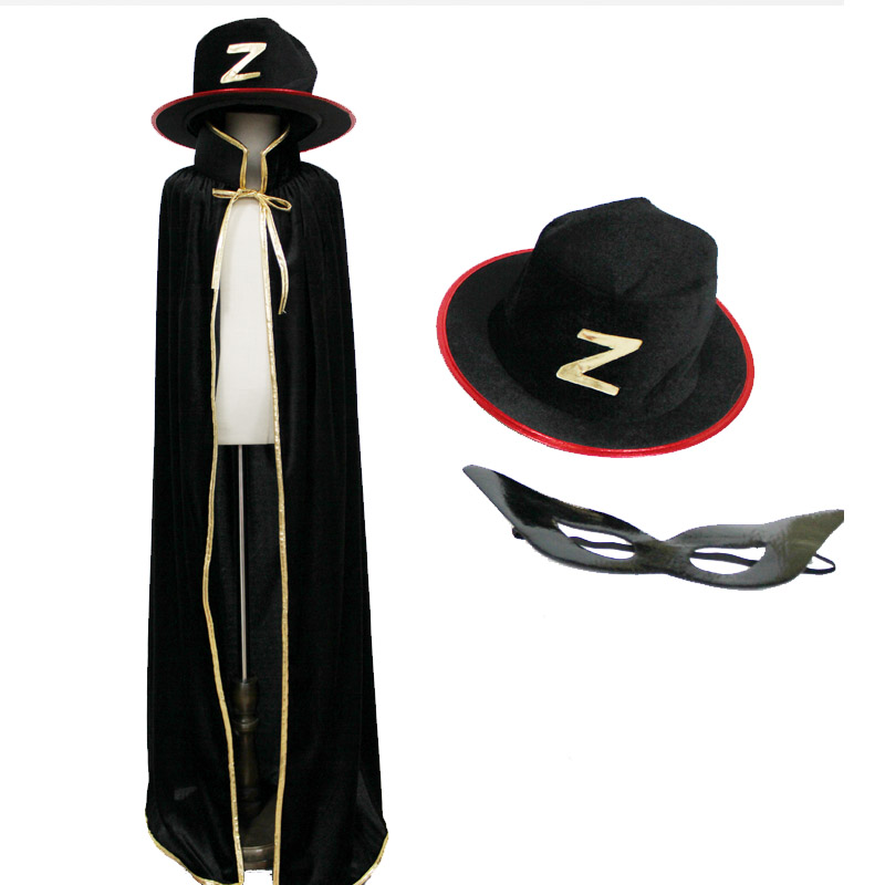 Zorro Costume Velvet Cape With Felt Hat And Leather Mask For Kids Boys Adult Halloween Party