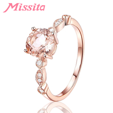MISSITA Classic Wedding Finger Ring Rose Gold Elegant Circle Round Rings for Women Brand Crystal Anniversary Gift Jewelry