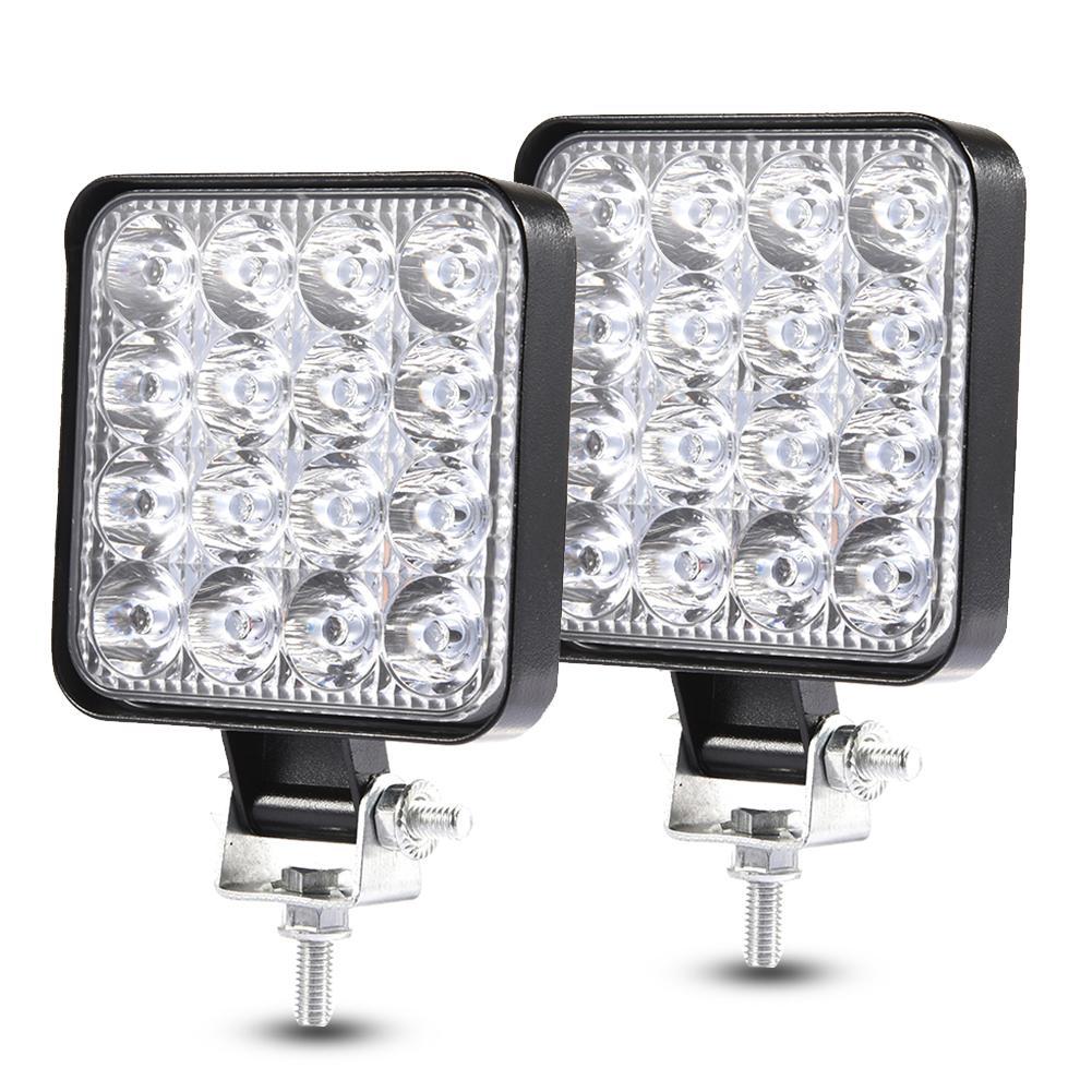 2PCS 48W 30 Degree LED Flood Beam Lights Square Off-road Bulb Lamp Light Fog Lighting Exterior For Jeep Cabin/Boat/SUV/Truck