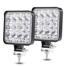 2PCS 48W 30 Degree LED Flood Beam Lights Square Off-road Bulb Lamp Light Fog Lighting Exterior For Jeep Cabin/Boat/SUV/Truck(China)