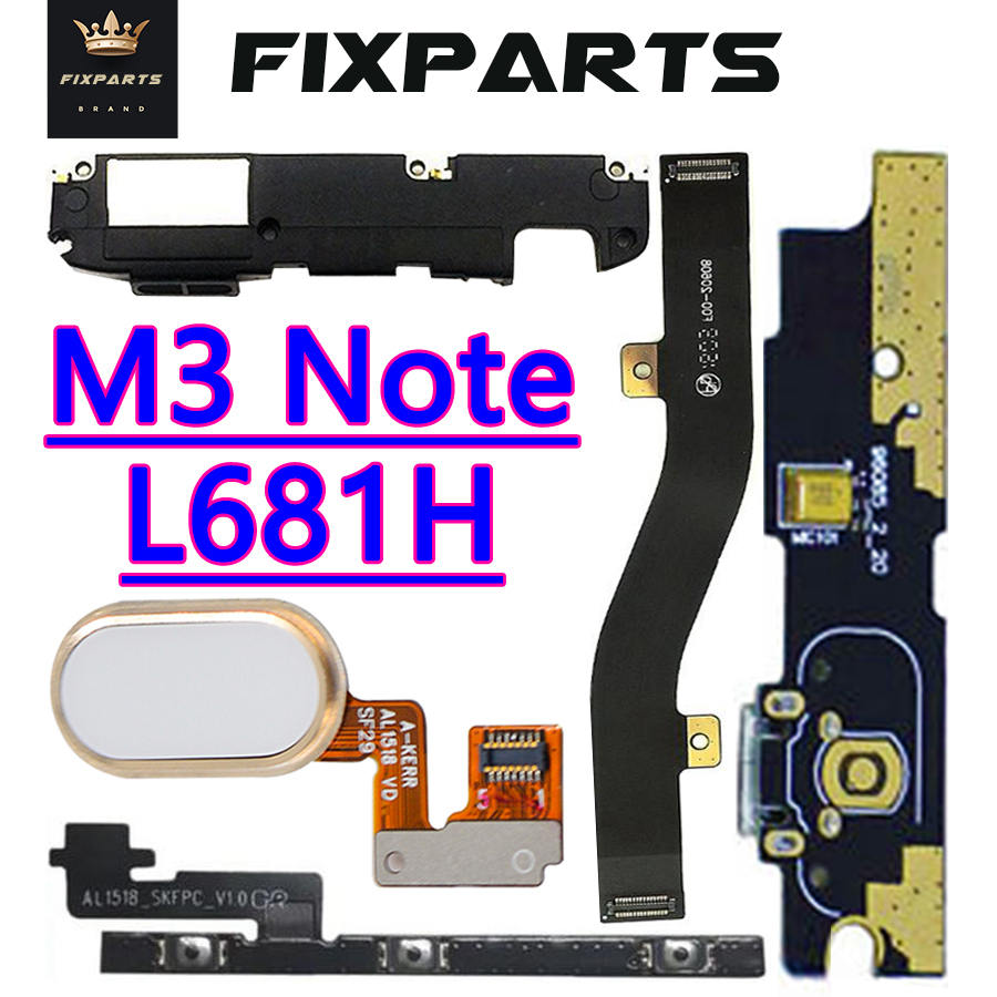 Phone Parts For Meizu M3 Note Power On/Off Volume Button For L681H Fingerprint For Meizu M3 Note Loud Speaker Charging Port