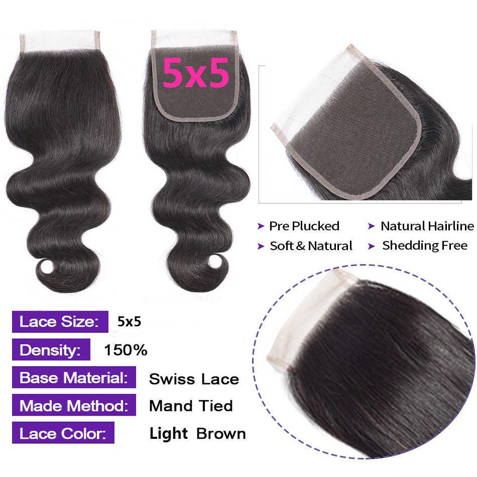 AMZ 5x5 zamknięcie koronki ciało fala brazylijski uzupełnienie splotu ludzkich włosów darmo/środkowy/trzy część zamknięcie koronki Remy włosy przednie zamknięcie