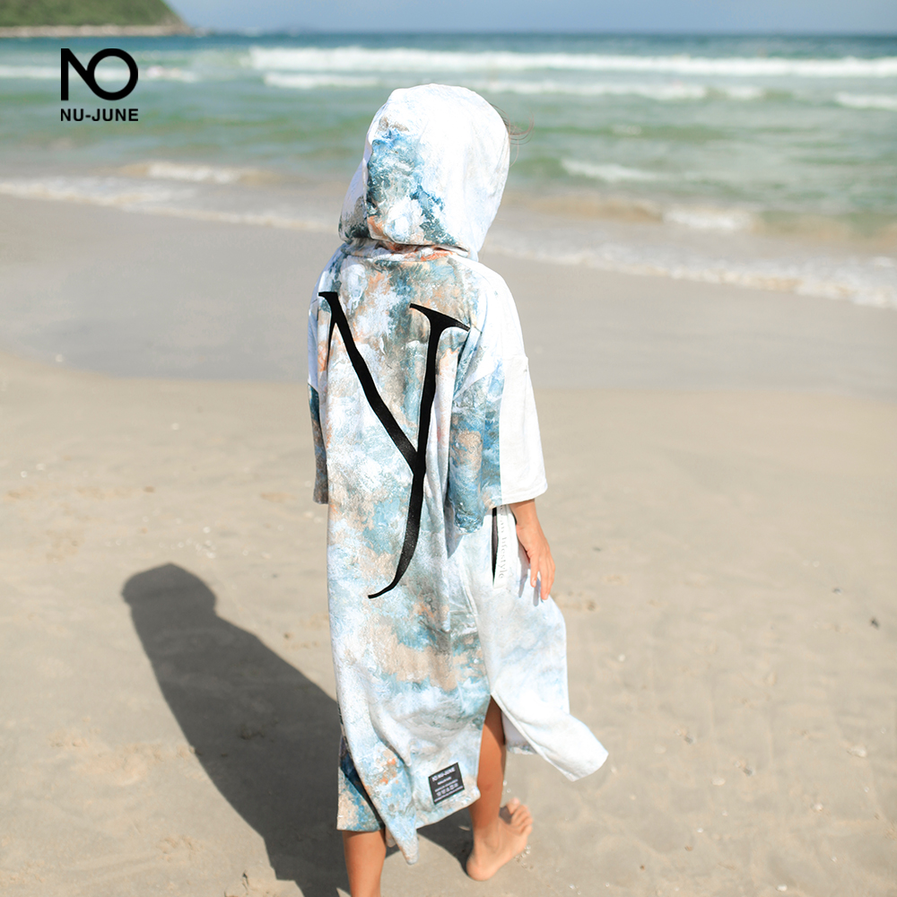 Nu-June Microfiber Quick Dry Wetsuit Changing Robe Poncho Towel With Hood For Swim Beach Towel Lightweight Beach Surf Poncho
