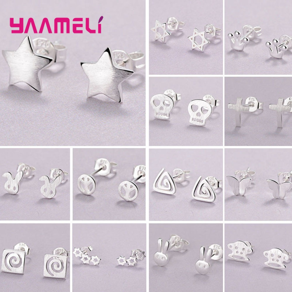 Wholesale Jewelry Small Cute Stud Earring For Girl Child Women Birthday Gift Crown/Rabbit/Butterfly/Star 11 Design