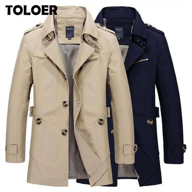 New Mens Business Jacket 2021 Fashion Autumn Men Long Cotton Windbreaker Jackets Overcoat Male Casual Winter Trench Outwear Coat 1