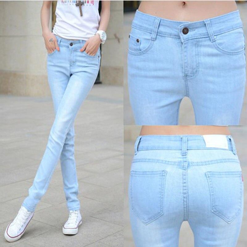 Spring Summer Korean-style Elasticity Capri Jeans Women's Tight Slimming Skinny Light Color High-waisted Student Long Pants