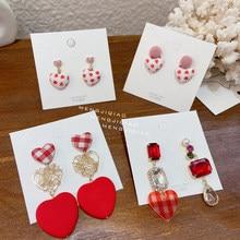 MENGJIQIAO-Pendientes de gota de cristal con forma de corazón rojo para mujer y niña, aretes de bola de Pompón, joyería para fiesta de navidad
